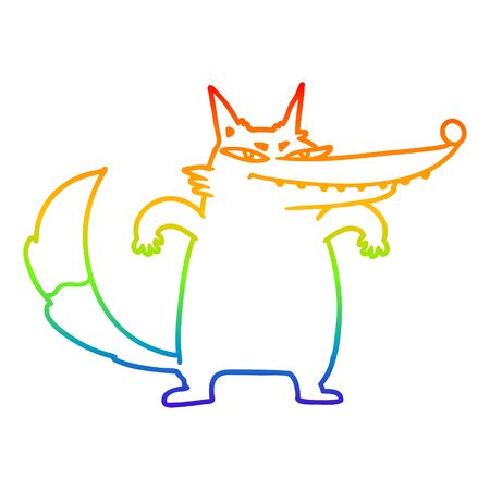 rainbow gradient line drawing of a sly cartoon wolf