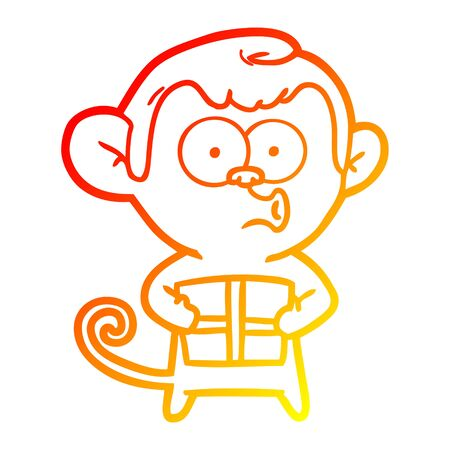 warm gradient line drawing of a cartoon christmas monkey Illustration
