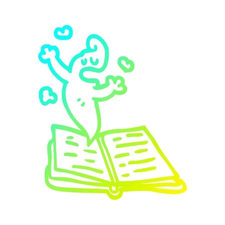 dessin au trait à gradient froid d'une histoire de fantôme de dessin animé Vecteurs