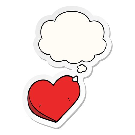 cartoon love heart with thought bubble as a printed sticker