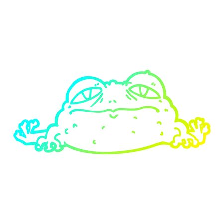 cold gradient line drawing of a cartoon ugly frog Ilustração