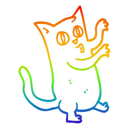rainbow gradient line drawing of a cartoon dancing cat Illustration