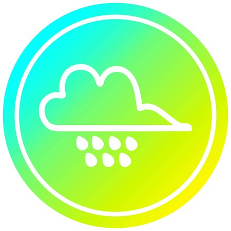 rain cloud circular icon with cool gradient finish Фото со стока - 129504865