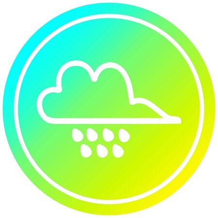rain cloud circular icon with cool gradient finish