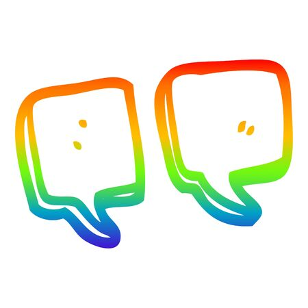 rainbow gradient line drawing of a cartoon quotation marks