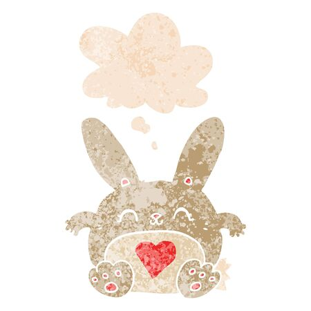 cute cartoon rabbit with love heart with thought bubble in grunge distressed retro textured style
