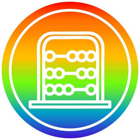 traditional abacus circular icon with rainbow gradient finish