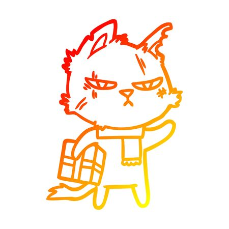 warm gradient line drawing of a tough cartoon cat with christmas present
