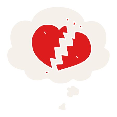 cartoon broken heart with thought bubble in retro style