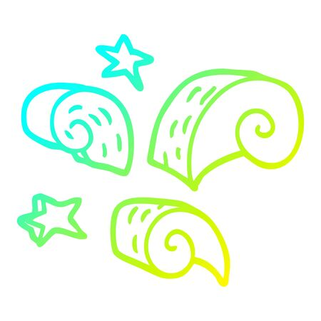 cold gradient line drawing of a cartoon decorative spiral element