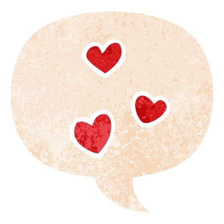 cartoon love heart with speech bubble in grunge distressed retro textured style Ilustracja
