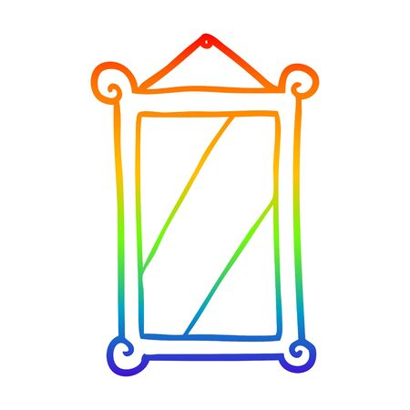 rainbow gradient line drawing of a framed old mirror