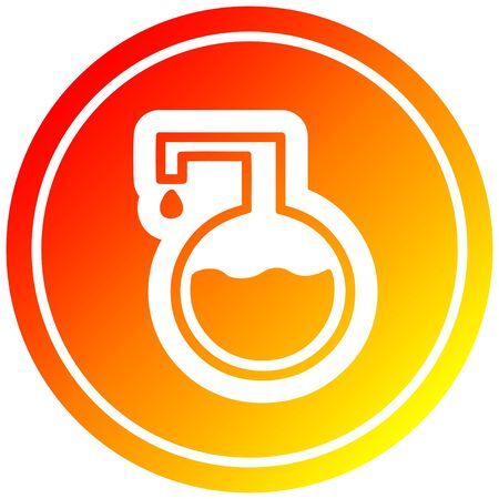 science experiment circular icon with warm gradient finish Stock Illustratie