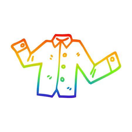 rainbow gradient line drawing of a cartoon casual shirt 일러스트