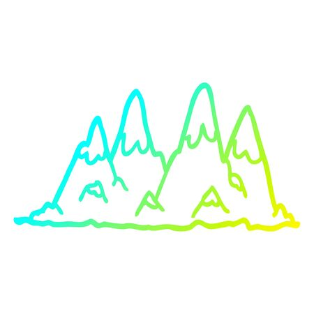cold gradient line drawing of a cartoon mountain range