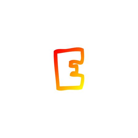 warm gradient line drawing of a cartoon letter e