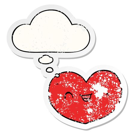 cartoon love heart with thought bubble as a distressed worn sticker Ilustracja