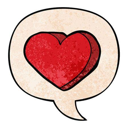 cartoon love heart with speech bubble in retro texture style Ilustracja