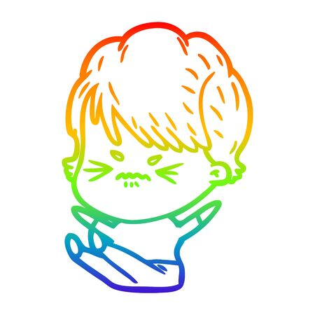 rainbow gradient line drawing of a cartoon frustrated woman  イラスト・ベクター素材