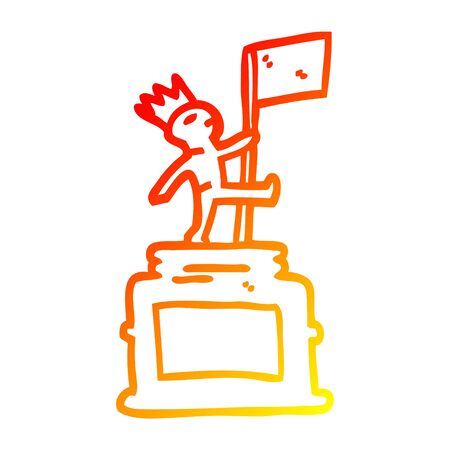 warm gradient line drawing of a cartoon monument statue 向量圖像