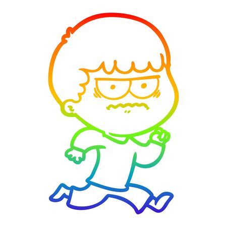 rainbow gradient line drawing of a cartoon angry man