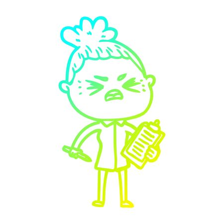 cold gradient line drawing of a cartoon angry woman  イラスト・ベクター素材
