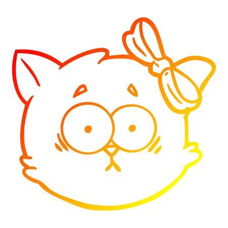 warm gradient line drawing of a worried cartoon cat face Stock Illustratie