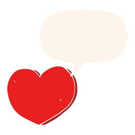 cartoon love heart with speech bubble in retro style
