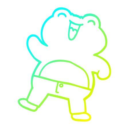 cold gradient line drawing of a cartoon frog Иллюстрация
