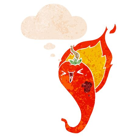 cartoon flaming hot chili pepper with thought bubble in grunge distressed retro textured style
