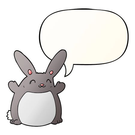 cartoon rabbit with speech bubble in smooth gradient style
