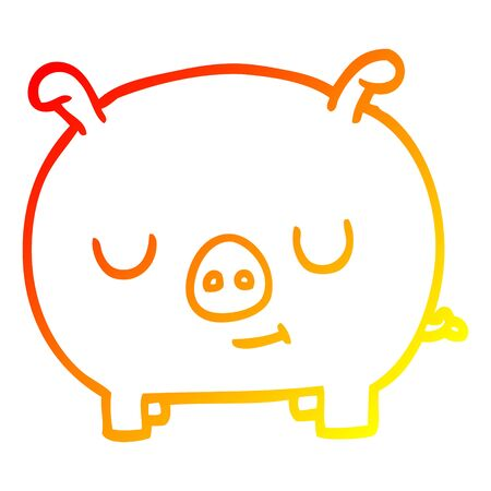 warm gradient line drawing of a cartoon happy pig