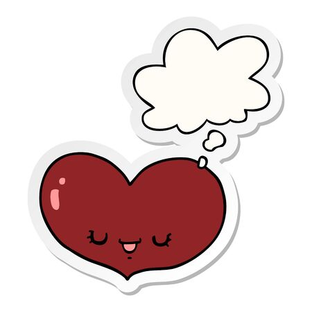 cartoon love heart character with thought bubble as a printed sticker