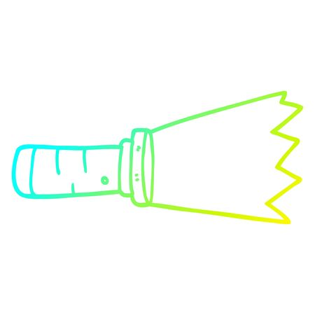 cold gradient line drawing of a cartoon lit torch
