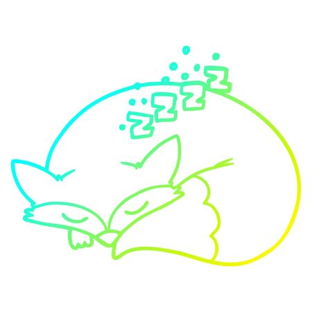 cold gradient line drawing of a cartoon sleeping fox  イラスト・ベクター素材