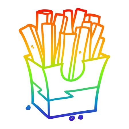 rainbow gradient line drawing of a junk food fries Banco de Imagens - 129505125