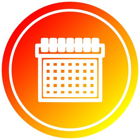 monthly calendar circular icon with warm gradient finish