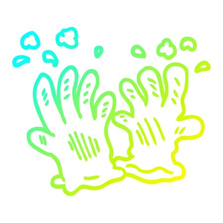 cold gradient line drawing of a cartoon sterile gloves