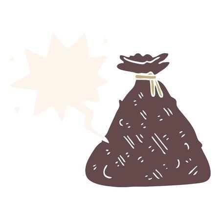 cartoon old hessian sack with speech bubble in retro style Ilustrace