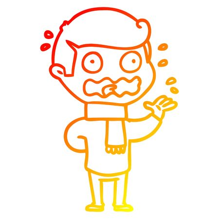 warm gradient line drawing of a cartoon man totally stressed out