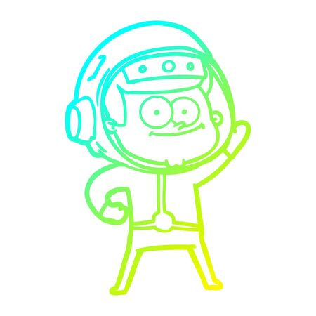 cold gradient line drawing of a happy astronaut cartoon Illustration