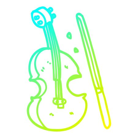 cold gradient line drawing of a cartoon violin and bow Reklamní fotografie - 129505359