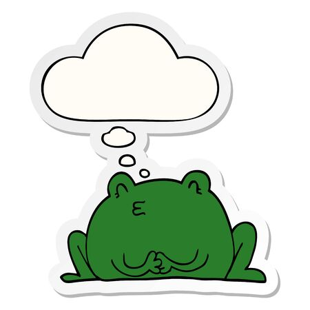 cute cartoon frog with thought bubble as a printed sticker