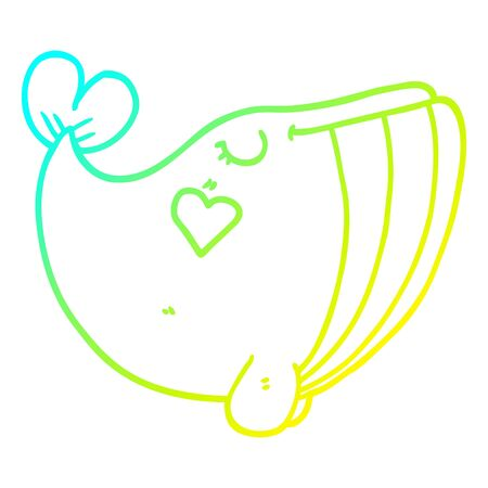 cold gradient line drawing of a cartoon whale with love heart