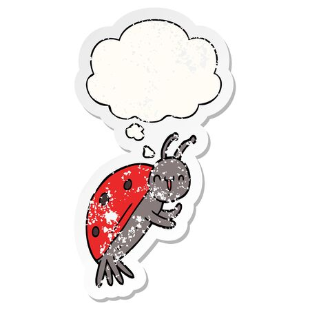 cute cartoon ladybug with thought bubble as a distressed worn sticker