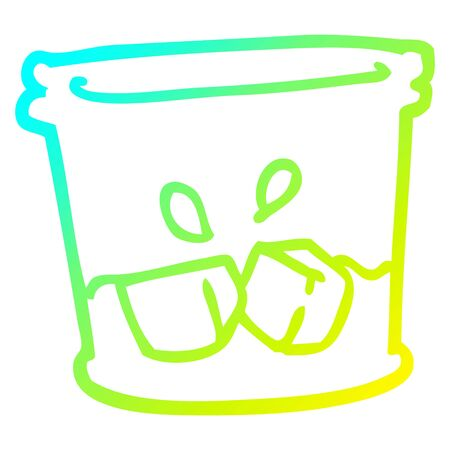 cold gradient line drawing of a cartoon drink in tumbler