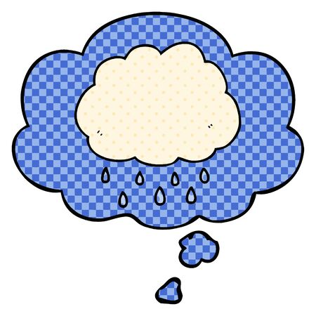 cartoon rain cloud with thought bubble in comic book style