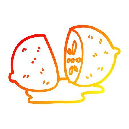 warm gradient line drawing of a cartoon citrus fruit