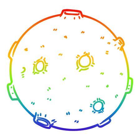 Dibujo de la línea de gradiente de arco iris de una luna de dibujos animados