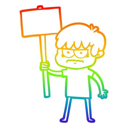 rainbow gradient line drawing of a annoyed cartoon boy  イラスト・ベクター素材